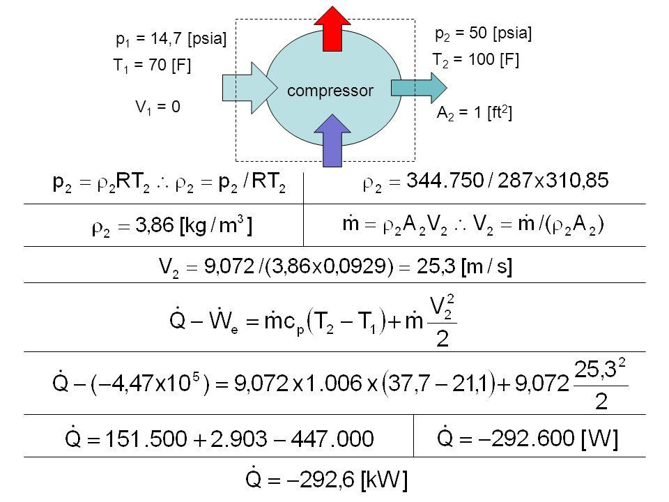 compressor p1 = 14,7 [psia] T1 = 70 [F] p2 = 50 [psia] T2 = 100 [F] A2 = 1 [ft2] V1 = 0